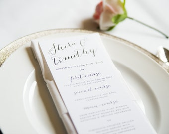 Calligraphy Wedding Menu Card, Simple Elegant Wedding Menus