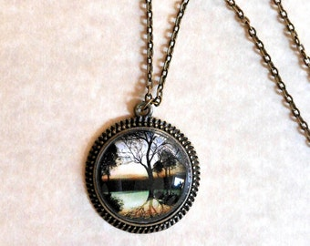 Reflections Pendant Necklace - Beautiful image of Reflections of Trees set in Antique Bronze on a 24 inch vintage style necklace.