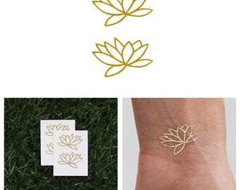 Fully Lotus - Metallic Gold Lotus Flower Temporary Tattoo (Set of 4)