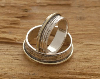 Rustic Sterling Silver and Gold Wedding Bands, His and Her Promise Ring Set, Custom Matching Wedding Bands, be37