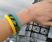 20 % Sale - 3 strand beaded crochet bracelet - Free shipping - Native American Bracelets - Bead Crochet - Beaded crochet bracelet