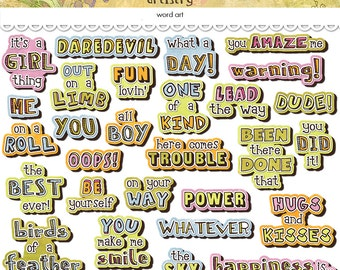 Digital whimsical word art / instant download / printable / PDF and PNGS / doodle style / digital scrapbooking embellishments / clip art