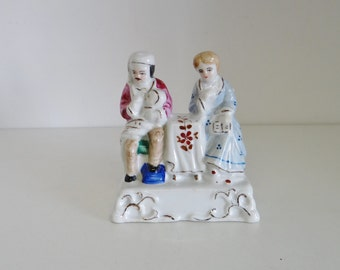 Vintage Figurine Antique Victorian German Hand Painted China Figure Fairing Circa 1890 - 1900s