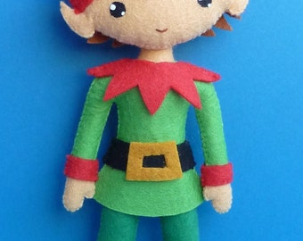 PDF sewing pattern to make a felt Christmas Elf.