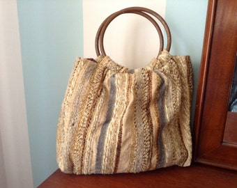 Natural Fiber Woven Purse with Wooden Handles