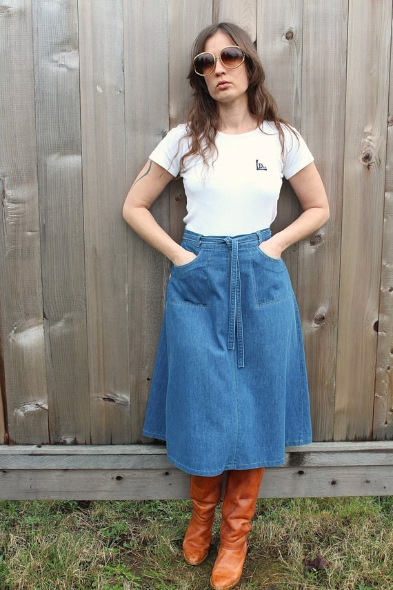 Vintage Denim Wrap Skirt 70 Boho Hippie High Waisted Wrap