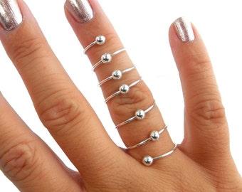 Sterling Silver Full Finger Ring, Sterling Silver Beaded Spiral Ring, Sterling Silver Full Finger Ring