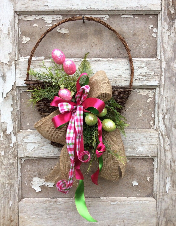 Easter Basket Door Wreath Egg Wreath Easter Wreath Spring