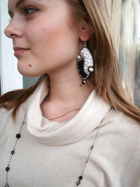 Bead Embroidered Earrings Black White Earrings Long