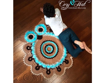 READY TO SHIP! Owl Rug. Hand Crocheted. Sale