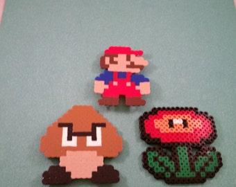 Super Mario perler bead art Magnet set, Video Game perler bead art, 8 bit mario magnet, mario fire flower magnet, goomba magnet, perler bead