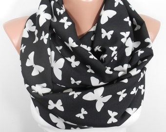 Butterfly Scarf Infinity Scarf Black Scarf Fall Winter Fashion Scarf Women Fashion Accessories Christmas Gifts For Her For Teens For Mom M