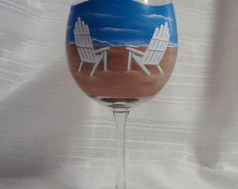 Painted wine glasses, Wine glasses, Beach theme, Beach chairs, Custom wine glasses, Painted glass, Hand painted glasses, 10 oz
