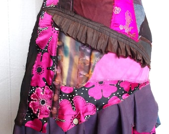 Art to wear Handmade Skirt Pretty in Pink Patchwork Skirt Bohemian Gypsy Shabby Chic Romantic Fantasy Unique Hand Made Wearable Art