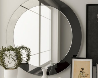 modern wall mirror midcentury inspired hanging frameless. Black Bedroom Furniture Sets. Home Design Ideas