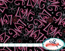 LOVE Fabric by the Yard Fat Quarter PINK & BLACK Fabric Heart Fabric Hot Pink Fabric 100% Cotton Fabric Quilting Fabric Apparel Fabric t3-21