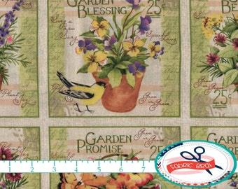 GARDEN BLESSING BLOCKS Fabric by the Yard, Fat Quarter Bird Fabric Seed Packs Fabric Quilting Fabric 100% Cotton Fabric Apparel Fabric t2-1