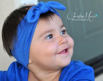 Baby headbands, baby girl headbands, royal blue headband, knot tie headband, top knot, head wrap, blue headband, infant headbands, cotton