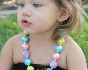 Baby girl necklace, pink yellow aqua and lavender, baby necklace, chunky bead necklace, first birthday, princess necklace, baby accessories