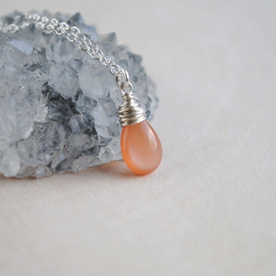 Peach Moonstone Necklace Peach Moonstone Jewelry Peach