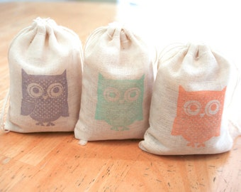 Owl bags set 15 with stamp gift sack birthday party baby shower goodies treat bag