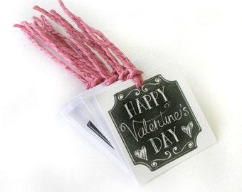 Happy Valentine's Day Chalk board Tag Set 10 Blank holiday treat tag