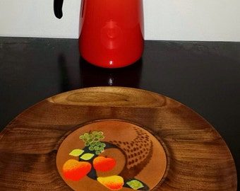 Mid Century Wood and Enamel Copper Cheese Tray John Design *FREE SHIPPING*