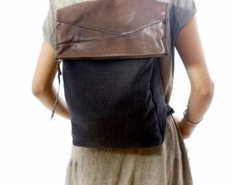 Black Canvas Laptop Backpack -  Canvas Rucksack - large canvas bag, shoulder bag, hobo bag Diaper bag  Travel bag