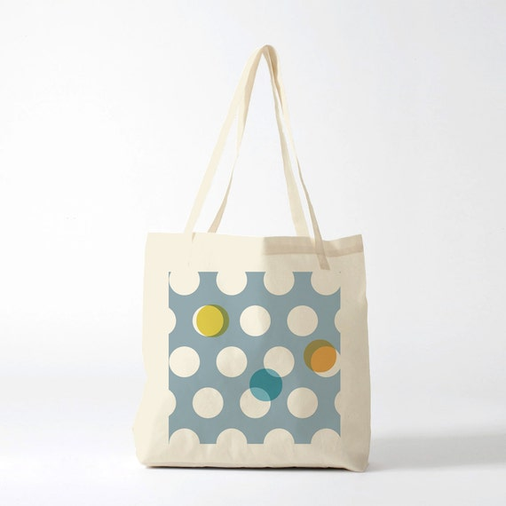 Tote Bag Vintage Polka Dots, Canvas bag, cotton bag, shopping bag, school bag, groceries bag, novelty gift, gift for women, laptop bag.