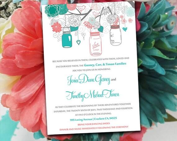 Coral And Teal Wedding Invitations: Printable Wedding Invitation Template Mason Jar Invitation