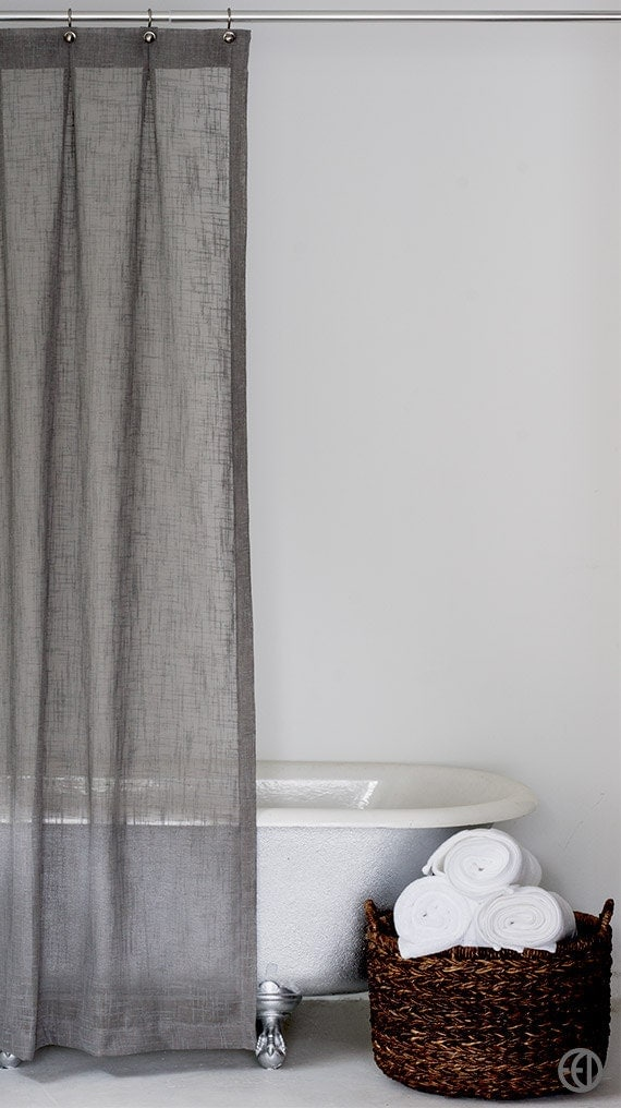 Grey Fabric Shower Curtain Standard And Extra Long Sizes