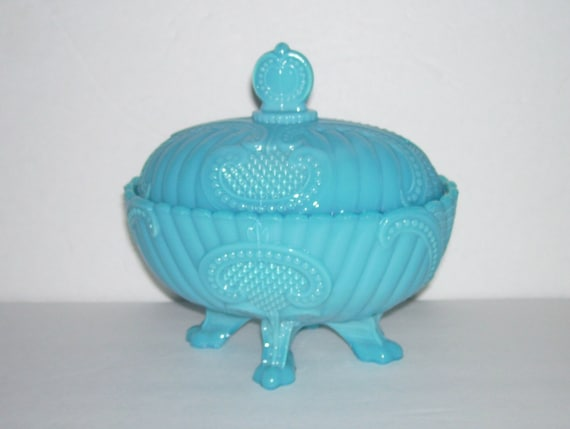 Vallerysthal Blue Milk Glass Rib Beaded Scroll Covered Compote