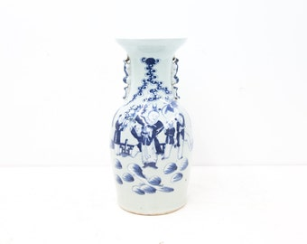 Large Chinese Blue and White Celadon Vase with Figures