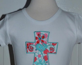 Personalized Cross Applique Shirt or Onesie Girl or Boy
