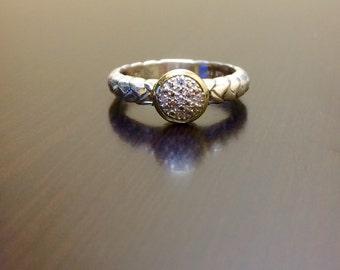14K Yellow Gold Sterling Silver Diamond Engagement Ring - Silver 14K Gold Diamond Wedding - 14K Diamond Ring - Silver Ring - Gold Ring