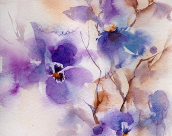 Original Abstract Watercolor Painting of Purple Flowers