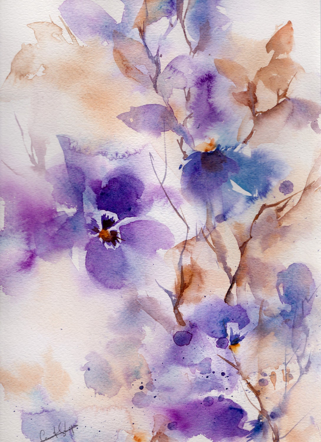 Original abstract watercolor painting of purple by canotstop for Abstract watercolour flowers