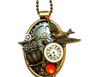 Steampunk Owl Necklace, Steampunk Jewelry, Collage Pendant, Steampunk Owl Pendant, Red Rhinestones, Owl Jewelry, Steam punk