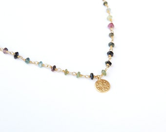 Tourmaline Choker style rosario with 22K gold-plated coin