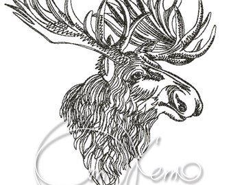 MACHINE EMBROIDERY DESIGN - Elk, moose