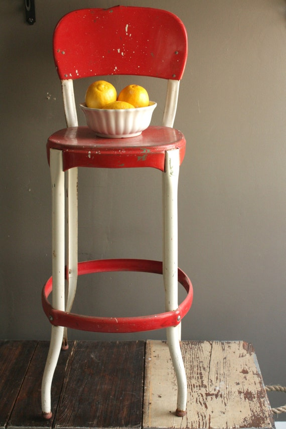 Vintage Metal Stool Red And White Chair Mid Century Kitchen