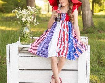 "Fabulous ""American Fireworks"" Celebration Sundress - Girls - Patriotic - Ruffle Dress - Red, White & Blue - Stripwork, Party - 4th of July"