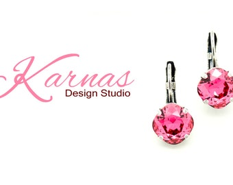 INDIAN PINK 10mm Crystal Cushion Cut Leverback Earrings Made With Swarovski Elements *Pick Your Finish *Karnas Design Studio *Free Shipping*