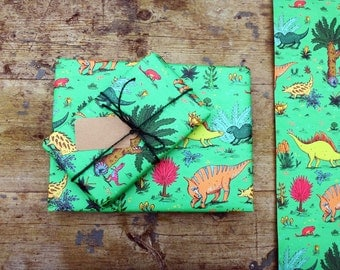 Dinosaur Gift Wrap // Wrapping Paper // Jungle // Set of 3 sheets