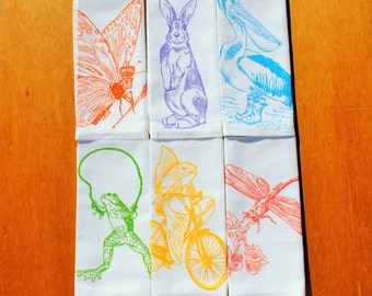 Cloth Dinner Napkins - Screen Printed Recycled Cotton Cloth Napkins Set of 6 - Washable and Reusable Eco Friendly