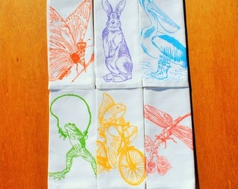 Cloth Dinner Napkins - Screen Printed Cotton Cloth Napkins Set of 6 - Washable and Reusable Eco Friendly