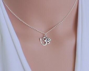 Om necklace, Ohm necklace, Om silver necklace, Spiritual jewelry, Yoga jewelry, Om pendant, Yoga necklace