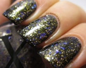 Struck by Pegasus - REAL Sterling Silver Flakies, Gold Flakies and Blue / Violet Glitter Topper - Nail Polish Topcoat