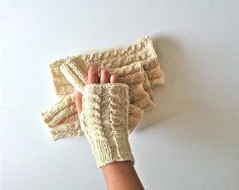 Fingerless Gloves, Hand-knitted Wrist Warmers