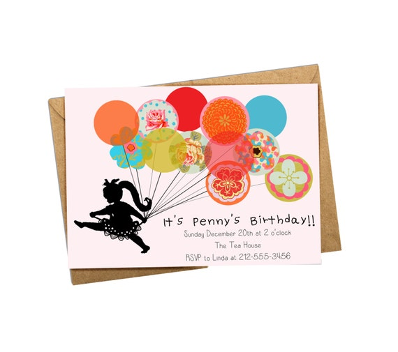 Digital Invitation. Little Girl With Balloons Birthday Invitation